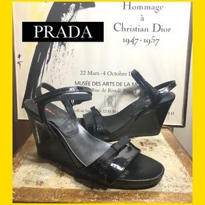 "SZ 38/8-PRADA BLACK LEATHER 4"" WEDGE SANDALS"